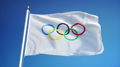Olympic games flag in slow motion seamlessly looped with alpha - stock footage