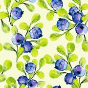 Seamless pattern with blueberries - stock illustration