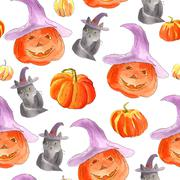 Watercolor halloween of pumpkins - stock illustration