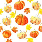 Watercolor halloween of pumpkins Stock Illustration