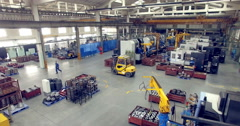 Inside of a industrial factory. Aerial shoot. 4K Stock Footage
