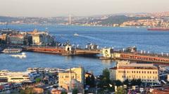 Summer view at The Galata bridge, Turkey Stock Footage