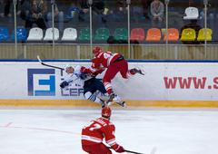 K. Glazachev (47) attack, E. Jakovlev (92) fall down - stock photo