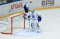 Dissapointed goalkeeper I. Nalimov (1) on the gate Stock Photos