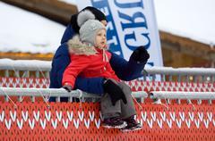 Baby on tribune - stock photo