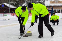 Curling action Stock Photos
