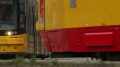 Trams in Warsaw, Poland. Modern, ecological way of public transportation. Stock Footage