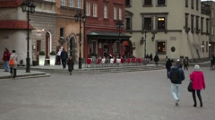 Pedestrians walking on the streets of Warsaw.  Regular people on the street. Stock Footage