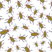 Seamless pattern with hand-drawn insects - stock illustration