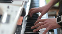 Man play on electric piano Stock Footage