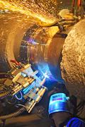 Butt welding underwater pipeline using automatic equipment Stock Photos