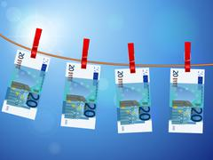 twenty euro banknotes on clothesline - stock illustration