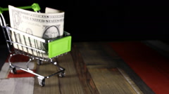 Dollars in the shopping trolley. Stock Footage