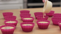 The process of preparing cupcakes in the kitchen Stock Footage