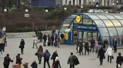 Crowded sidewalks in Warsaw Stock Footage