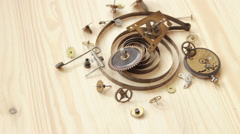 Details of old mechanical watches Stock Footage