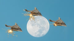 US Dollar Paper Airplane Formation Flies Past Full Moon Stock Footage