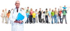 Senior doctor and people group. - stock photo