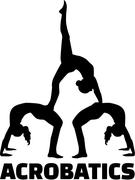 Acrobatics silhouette with word - stock illustration