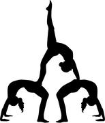 Acrobatics silhouette of three people - stock illustration