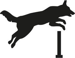 Dog jumping over hurdle - stock illustration