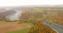 Panning shot of autumn trees on mountains, Middle Rhine, Rhineland, Germany Stock Footage