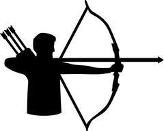 Archery Silhouette - stock illustration