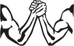 Arm wrestling silhouette - stock illustration