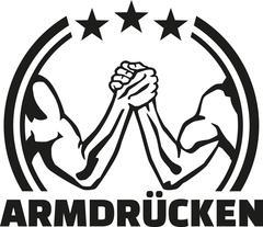 Arm wrestling (german) emblem - stock illustration