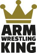 Arm wrestling king - stock illustration
