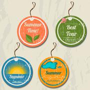Set of 4 retro summer tags. - stock illustration