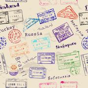 Seamless texture with real visa stamps. Stock Illustration