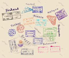 Real visa stamps from 9 countries. Stock Illustration