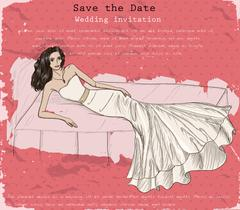 Vintage poster with beautiful wedding dress. - stock illustration