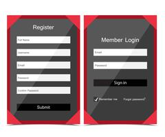 Vector forms login - stock illustration