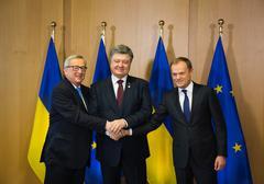 Stock Photo of Petro Poroshenko, Jean-Claude Juncker and Donald Tusk