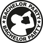 Bachelor party badge with drinking man - stock illustration