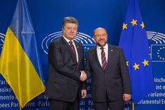 Petro Poroshenko and Martin Schulz Stock Photos