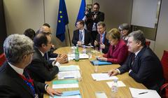 Petro Poroshenko, Francois Hollande and Angela Merkel - stock photo
