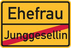 Place name sign from bachelorette to wife - german Stock Illustration