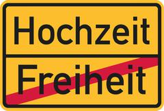 Place name sign from freedom to wedding - german - stock illustration