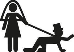 Wedding couple with groom on leash - stock illustration