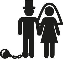 Wedding Couple pictogram man with shackle and iron ball - stock illustration
