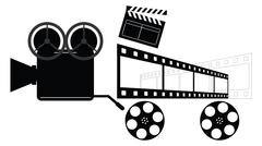 Vintage Camera. Directors Clapper. Film Reels. EPS8 - stock illustration