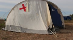 Medical Camp with Red Cross at the Military Festival Stock Footage