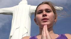 Spiritual Religious Woman Praying - stock footage