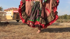 Gipsy woman in her National Dress is Dancing at the Historical Festival Stock Footage