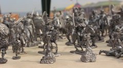 Tin Military Statuette Soldiers at the Historical Festival Exhibition Stock Footage