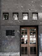 Gun Shot Holes Sarajevo Stock Photos