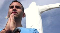 Catholic Man In Prayer Stock Footage